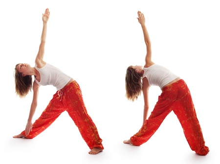 Young woman in red pants doing yoga exercises isolated on a white photo