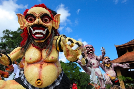daemon: Balinese monsters Ogoh-Ogoh on blue sky background