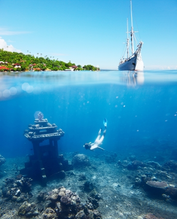 Collage with woman diving to underwater landmark on a breath hold and sail boat on water surface with main land on the horizon Stock Photo