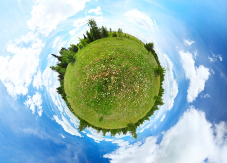 Spherical panorama of a green meadow with trees and blue summer cloudy sky