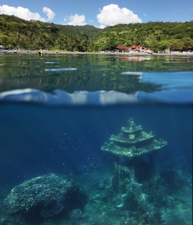 corall: Underwater landmark and part of the main land. Amed village, Bali, Indonesia