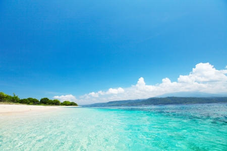 Sandy coast of a wild beach and clear sea of the Bali Barat National Park Stock Photo - 16835087