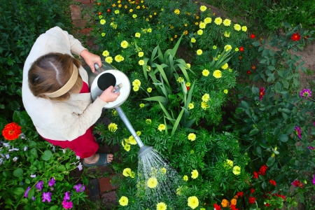 landlady: Mature caucasian woman watering her green garden with a lot of flowers Stock Photo