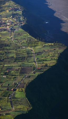 Indonesian village Cemoro Lawang situated on an edge of caldera of old giant volcano photo