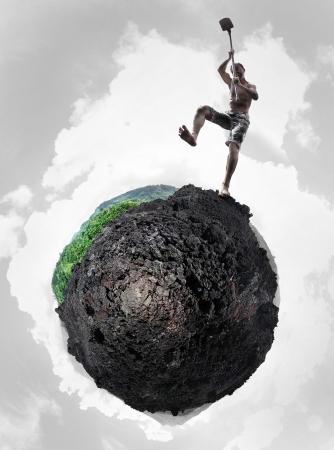 hombre sucio: Collage de un hombre sucio enojado cavando una �ltima parte verde de un planeta