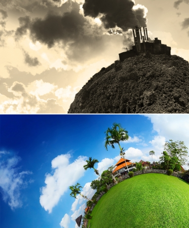 Collage of an empty planets soil and smoking power plant and green lush meadow with buildings and trees and blue cloudy sky