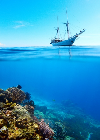 Collage of a coral reef and anchored sail boat on a surface photo