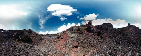 incursion: Panorama of a volcanic soil and blue sky with clouds