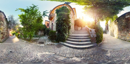 passages: Panorama of cosiness yard with trees and tile passages in the city of Verona at early morning