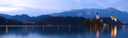 bled: Bled lake with chirch on an island at twilight