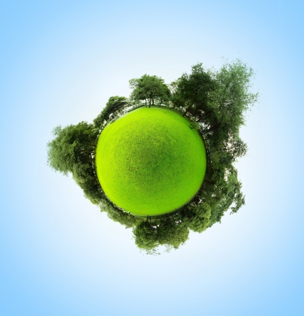 real world: Green little planet with trees meadow and clear sky