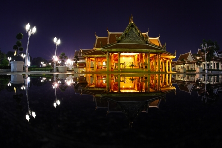 south east asia: Marble temple ( Benchamabophit temple) at night with reflection in a water. Bangkok, Thailand