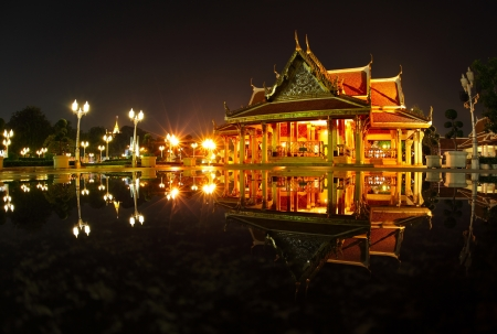Marble temple ( Benchamabophit temple) at night with reflection in a water. Bangkok, Thailand Stock Photo - 16875476