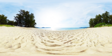 equirectangular: Spherical, 3600 degrees panorama of a tropical beach with white sand and green trees on the coast. Bang Tao beach of Phuket island, Thailand Stock Photo
