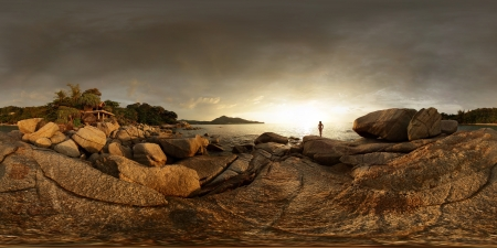equirectangular: Spherical, 360 degrees panorama of a rocky coast of Andaman sea near Laem Sing beach at sunset light. Phuket, Thailand