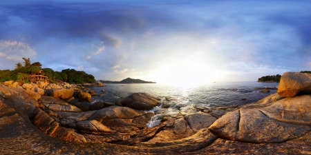 Panorama of a rocky coast of Andaman sea near Laem Sing beach at sunset. Phuket, Thailand Stock Photo - 16875525