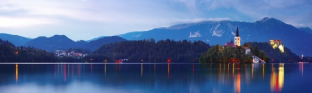 Bled lake with church on an island at twilight Stock Photo - 16875506