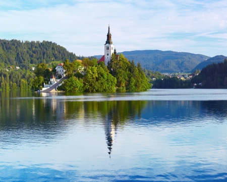 bled: Church on island in the middle of Bled lake. Slovenia