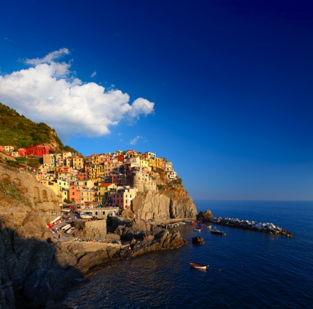 Manarola town of Cinque Terre National Park at calm sunny day, Italy Stock Photo - 16875507