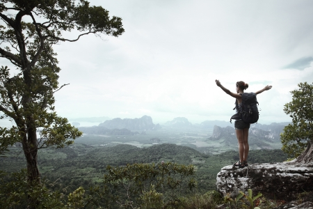 Young hiker with backpack standing with raised hands on a cliff's edge and looking over wild tropical valley Stock Photo - 16881731
