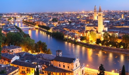 Night view of Verona city. Italy photo