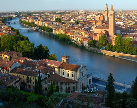 City of Verona with river at sunny day. Italy photo