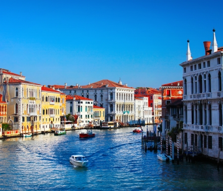 Grand canal of Venice city with boats at sunny day. Italy Stock Photo - 16875520