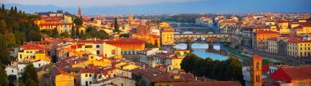 Part of Florence with bridges at sunrise. Italy Stock Photo - 16875535
