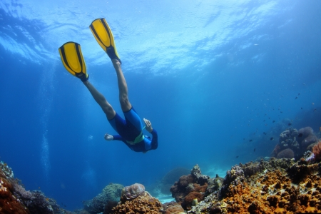 Underwater shoot of a young lady snorkeling and diving on a breath hold over vivid coral reef of tropical island  Stock Photo