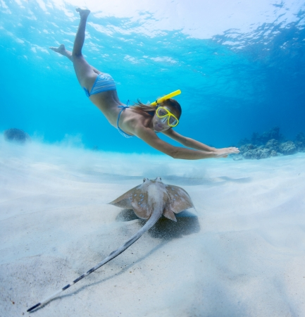 Underwater shoot of a young lady snorkeling and doing skin diving over sandy sea bottom with blue spotted ray on the foreground Stock Photo - 18043065