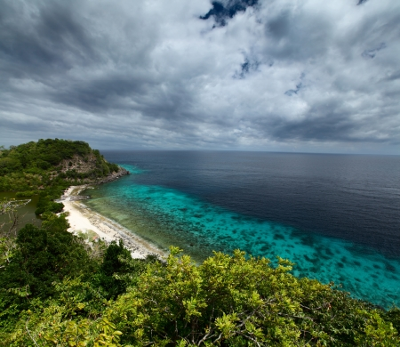 sanctuary: Tropical green island and blue sea with coral reef. View from top of a mountain to Apo Reef Natural Park. Apo island, Philippines.