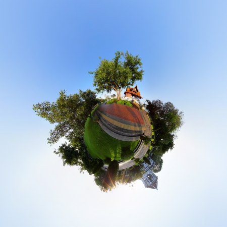 equirectangular: Little planet with trees buildings and meadow with green grass