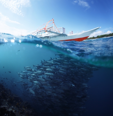 pecheur: Collage avec l'école de sous-marin de poissons Jack et le bateau traditionnel sur une surface à une journée ensoleillée Banque d'images