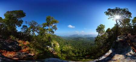 valley below: Panorama of a tropical forest with limestone mountains in a valley below Stock Photo