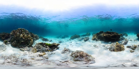 spherical: Spherical, 360 degrees panorama of tropical reef with a rocks on sandy bottom, Racha Yai island, Phuket