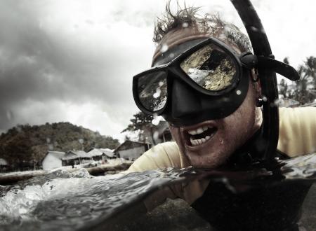 Crazy diver getting wet