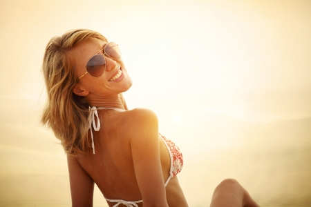 swimsuit: Portrait of a smiling woman in a swimsuit