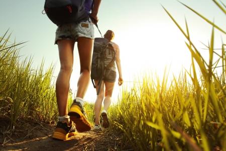 senderismo: Los excursionistas con mochilas caminando por un prado con hierba exuberante