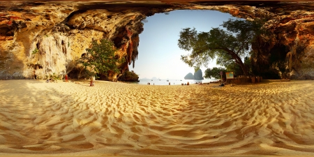 phra nang: Spherical 360 degrees panorama of a sandy beach among limestone mountains. Phra Nang beach. Krabi, Thailand