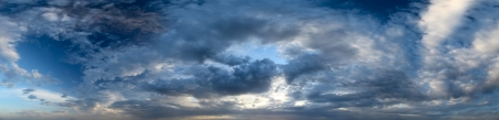 troposphere: Panorama of a sunset sky with clouds Stock Photo