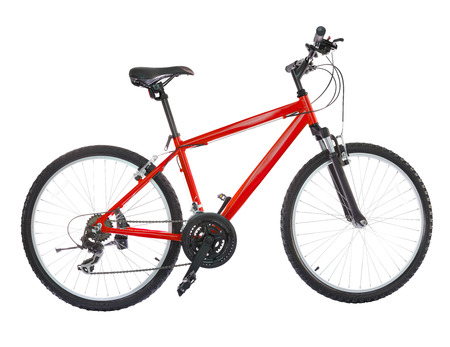 shocks: New bicycle isolated on a white background. High resolution (stitched from five shoots)