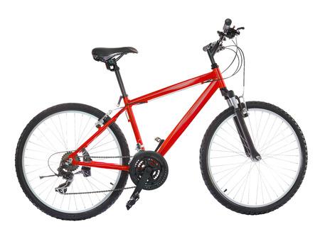 Nieuwe fiets die op een witte achtergrond. Hoge resolutie (gestikt van vijf scheuten)