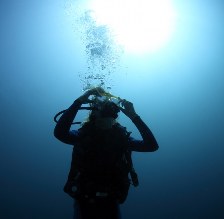 Diver clearing the mask underwater photo