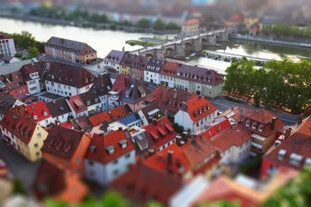 tilt shift: Red roofs of town of Wurzburg. Pseudo tilt shift effect. Germany