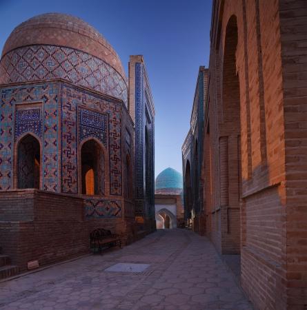 shah: Oriental complex of buildings of Shah i Zinda  Samarkand, Uzbekistan Stock Photo