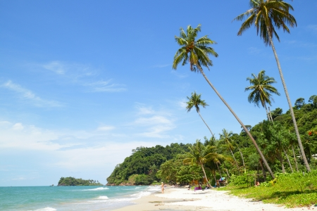 chang: Tropical sandy beach with palm trees  Koh Chang, Thailand Stock Photo