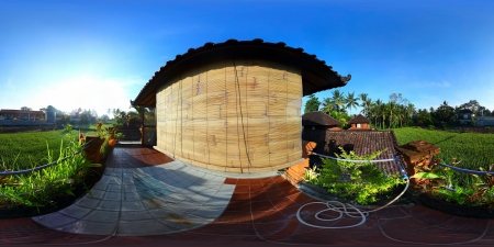 equirectangular: Spherical, 360 degrees panorama (equirectangular projection) of a balcony of traditional house, Bali, Indonesia