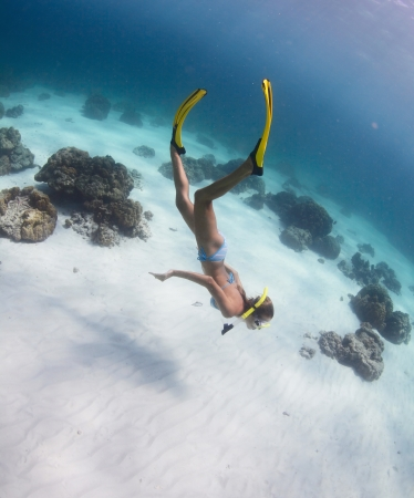 breath hold: Young lady snorkeling and diving on a breath hold in a clear tropical sea Stock Photo