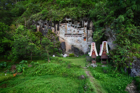 Cemetery in a rocky wall with wooden statues. Sulawesi, Indonesia photo