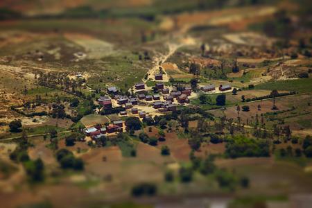 tilt shift: Traditional Malagasy village with tilt shift effect. Madagascar